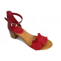 červené kožené italské sandálky na širokém podpatku SILCO SIL-5032