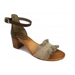 šedo-béžové (taupe) kožené italské sandálky na širokém podpatku SILCO SIL-5032