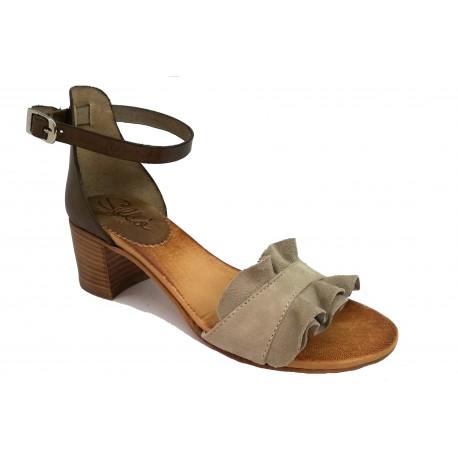 šedo-béžové (taupe) kožené italské sandálky SILCO SIL-5032