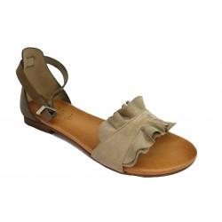 šedo-béžové (taupe) kožené italské sandálky SILCO SIL-1032