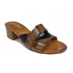 hnědo-černé kožené italské pantofle LORA DEE 09