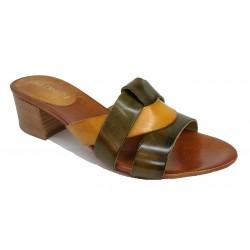 zeleno-žluté kožené italské pantofle na širokém podpatku LORA DEE 09