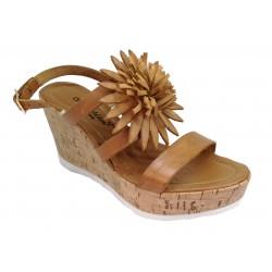 hnědé kožené italské sandálky na klínu SEDUCTION Z486