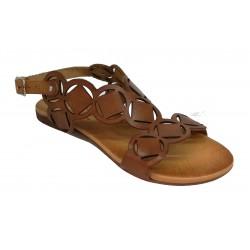 hnědé kožené italské vyřezávané sandálky ONCE P/72