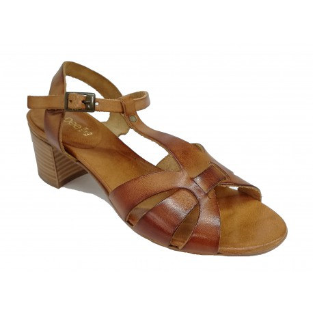 hnědé kožené italské sandálky na širokém podpatku LORA DEE 011