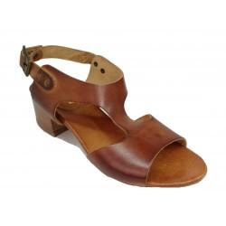 hnědé kožené italské sandálky na širokém podpatku LORA DEE 015