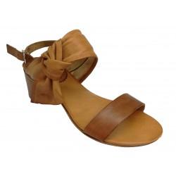 hnědé kožené italské sandálky na širokém podpatku ONCE NN/50