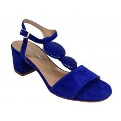 modré celokožené italské sandálky na širokém podpatku OROSCURO 7E425