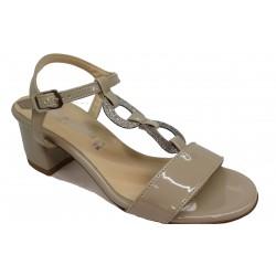béžové kožené italské sandálky na širokém podpatku OROSCURO 8031