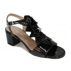 černé celokožené italské sandálky na širokém podpatku OROSCURO 9L435