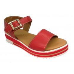 červené kožené italské sandálky na platformě PORTOFINO 260