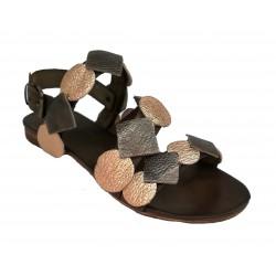 hnědo-měděné kožené italské sandálky SILCO PM34