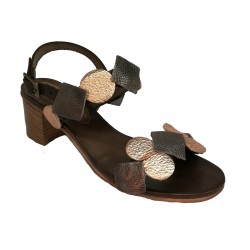hnědo-měděné kožené italské sandálky na širokém podpatku SILCO 5031