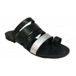 černo-stříbrné kožené italské pantofle SILCO PM36