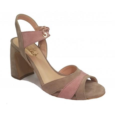 taupe-pink kožené italské sandálky na širokém podpatku SILCO ALYSSA5/FT