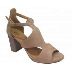 béžové kožené sandálky na širokém podpatku VENETTI 1412
