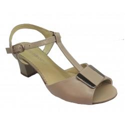 béžové kožené sandálky na širokém podpatku NATALLI 358