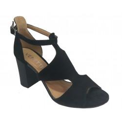 černé kožené sandálky na širokém podpatku VENETTI 1412