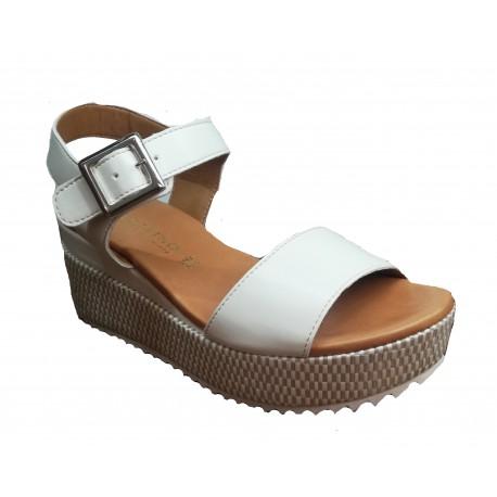 bílé kožené italské sandálky na klínu PORTOFINO 404