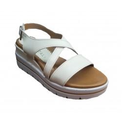 světle béžové kožené italské sandálky na platformě RICCIANERA 2487