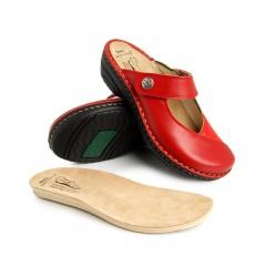 zdravotní červené kožené pantofle BATZ Bali