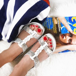 zdravotní bílo-zlaté kožené pantofle BATZ Bori