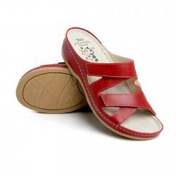 zdravotní červené kožené pantofle BATZ Eni