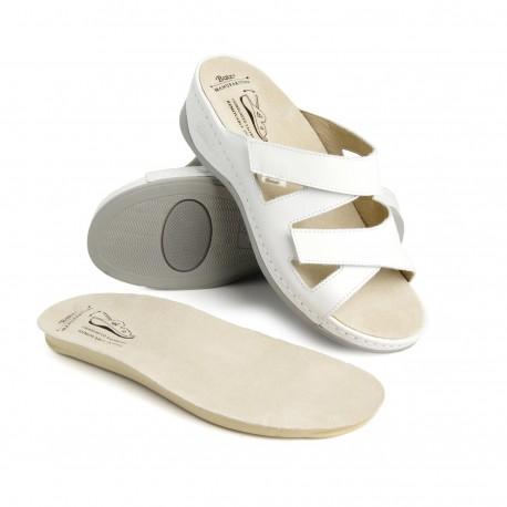 zdravotní bílé kožené pantofle BATZ Evelin