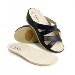 zdravotní tmavě modré kožené pantofle BATZ Evelin