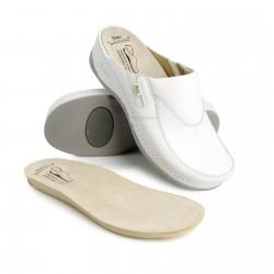 zdravotní bílé kožené pantofle BATZ FC10