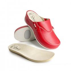 zdravotní červené kožené pantofle BATZ FC10