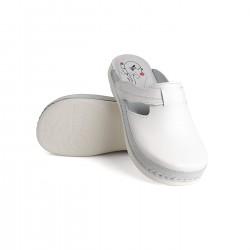 zdravotní bílé kožené pantofle BATZ Flower