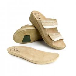 zdravotní béžovo-zlaté kožené pantofle BATZ Hédi