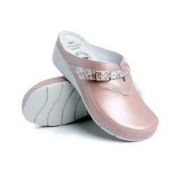 zdravotní perleťově růžové kožené pantofle na klínu BATZ Lisa