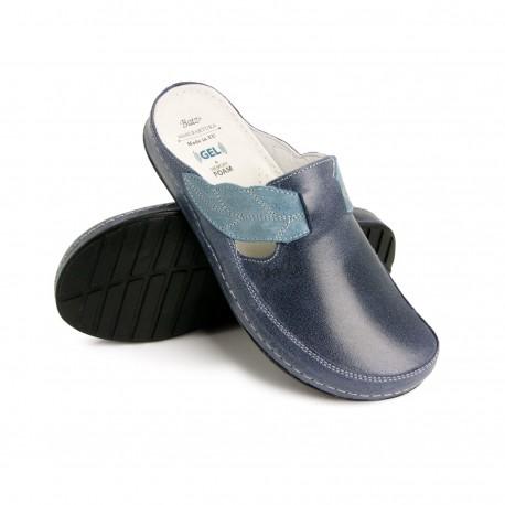 zdravotní tmavě modré kožené pantofle BATZ NLK