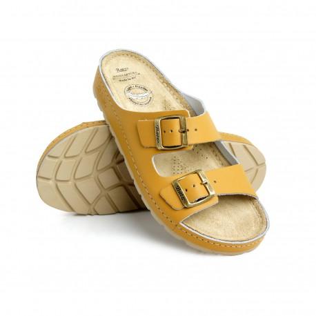 zdravotní hořčicové kožené pantofle BATZ Zenna