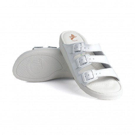 zdravotní bílé kožené pantofle BATZ 3BCS