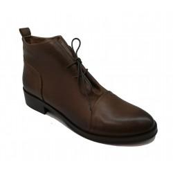 hnědá kožená šněrovací kotníková obuv Riccianera M-133