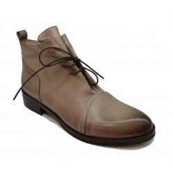 taupe kožená šněrovací kotníková obuv Riccianera M-133