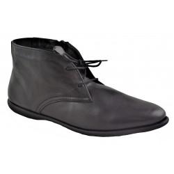 černá kožená šněrovací kotníková obuv Akche 065-681.2