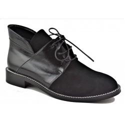 černá kožená šněrovací kotníková obuv Akche 029-1260