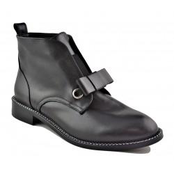 černá kožená kotníková obuv s mašlí Akche 029-1214