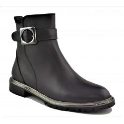 černá kožená kotníková obuv Akche 020-6053