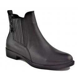 černá kožená kotníková obuv Akche 020-6026