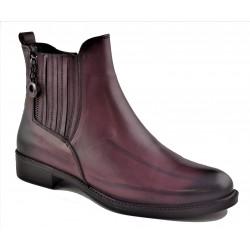 bordó kožená kotníková obuv Akche 020-6026