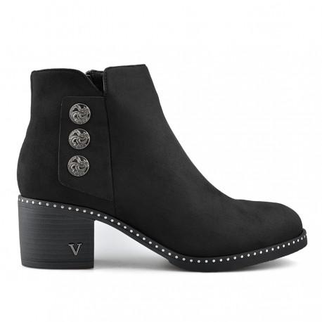 černá kotníková obuv na širokém podpatku s knoflíčky Tendenz REW19-028