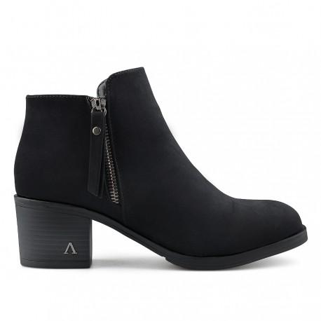 černá kotníková obuv na širokém podpatku Tendenz REW19-030