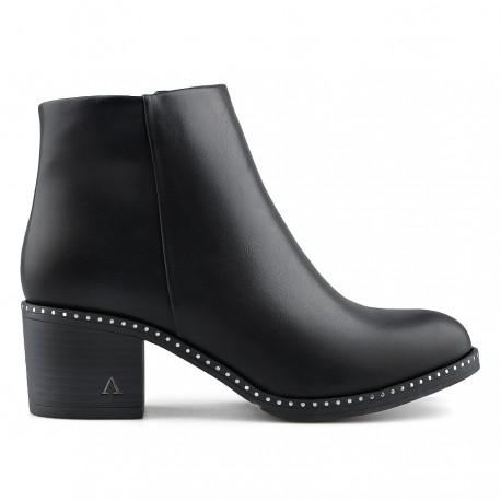 černá kotníková obuv na širokém podpatku Tendenz REW19-031