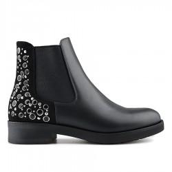 černá kotníková obuv s ozdobnými kolečky Tendenz REW19-035
