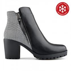 černá kotníková obuv s károvaným vzorem na širokém podpatku Tendenz REW19-007